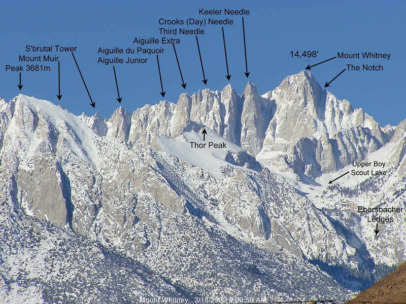 The latter has now been renamed Crooks Peak after Hulda Crooks who hiked up  Mount Whitney every year until well into her nineties!